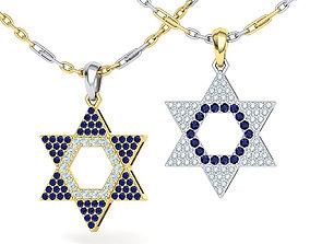 David Star Pendant Diamond Sapphire Necklace 3dmodel