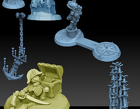 Undersea Bases Stems and Terrain 28mm 3D printable model
