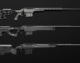 3D asset game-ready Remington 700 Sniper Rifle