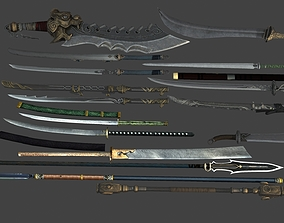 Swords spears two-edged swords Pike cold steel 3D model