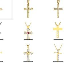 11 Cross Spiritual pendant 3dm render detail white