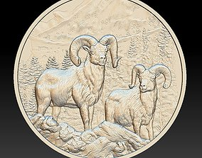 Rams in the Mountains Coin - relief - 3D printable model