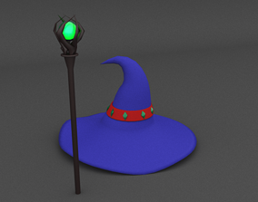 3D model low polly wizard hat