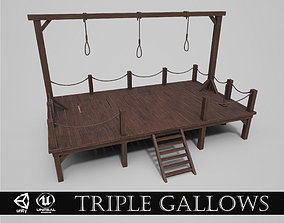 3D model low-poly Medieval Triple Gallows
