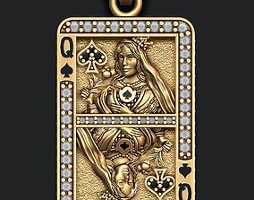 3D printable model Spade queen playing card pendant