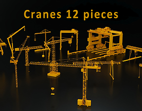 3D asset Cranes 12 pieces
