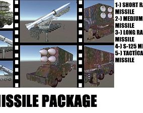 3D asset VR / AR ready MISSILE PACKAGE