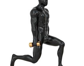Fitness mannequin training with dumbbells 142 3D model