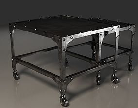 3D Black and dirty metal double coffee table