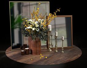 Decor set candles candlesticks bouquet of flowers and 3D