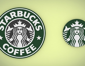 3D model low-poly Starbucks logo