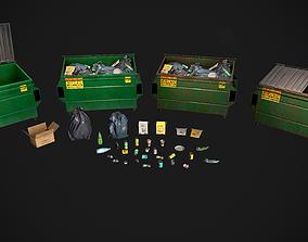 Garbage Dumpster With Trash 3D asset