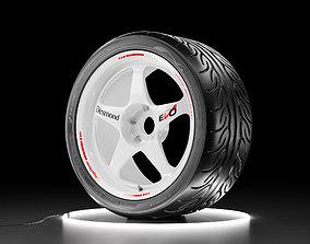 3D asset Car wheel Yokohama NEOVA AD08R tire with 4