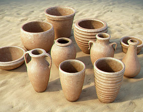 3D Handmade clay pots collection
