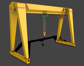 3D asset PBR Single Girder Gantry Crane V2 - Yellow Light
