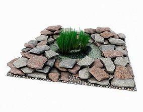 Garden Pond With Stones 3D model