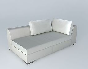 3D model meridian bed TERENCE G White Leather