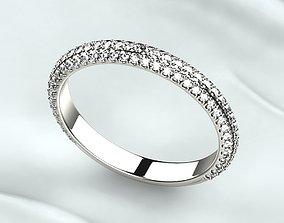 3D printable model Pave Gems Wedding Gold Ring