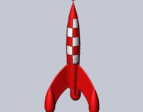 Tintin Destination Moon Rocket Detailed Printable
