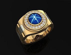 3D printable model Gold Men Ring with Diamond And Sapphire