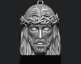 3D printable model necklace Jesus head pendant