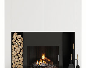 Fireplace 3D model heating room