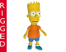 rigged Bart Simpson 3D model rigged cartoon character