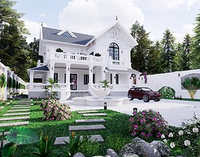 animated family Exterior villa design 3d model