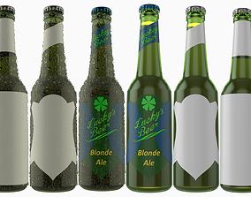 3D model Beer Bottle with Beer and Condensation v10