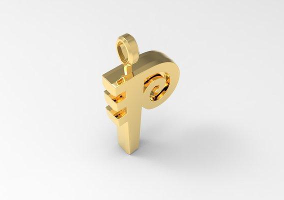 P Letter Pendant Gold