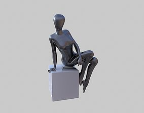 Female Black Mannequin Sitting Pose 3D model