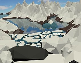 Low Poly Snowy Mountain 3D asset