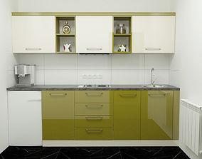 3D Modern Green Kitchen