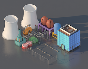 game-ready Simpsons Springfield Plant isometric low poly 1
