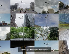 3D Street Light 15 with pole 2