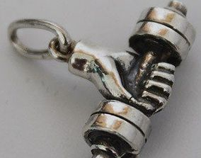 3D printable model barbell pendant