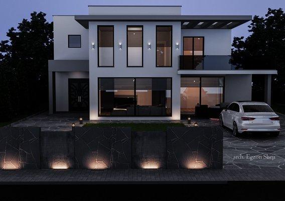 Modern House  night rendering
