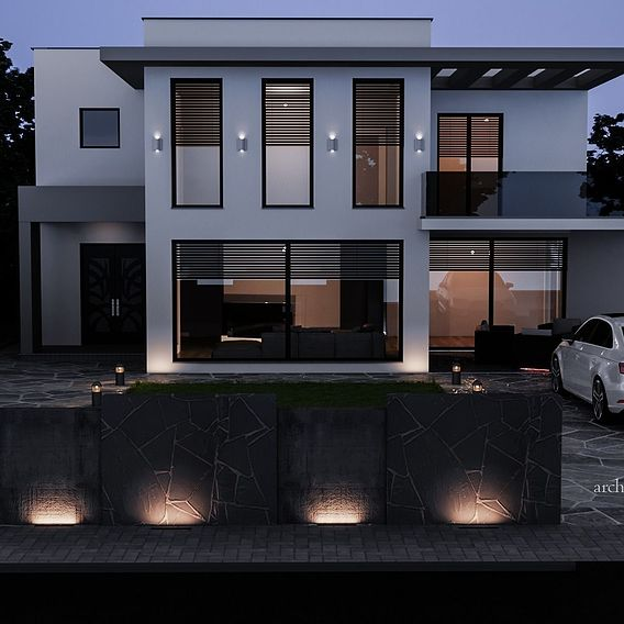Modern House  night rendering