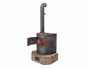 Heating iron oiled fire stove 3D model