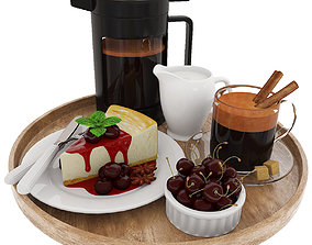 3D model Coffee and cherry cheesecake
