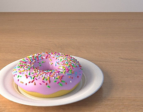 Donut on a plate 3D model