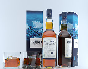 Talisker Whiskey and Glass 3D