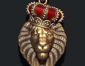 Lion pendant with diamonds and closed 3D print model 2