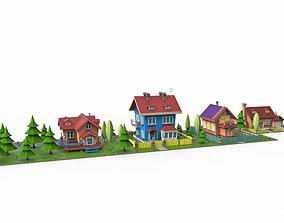 Cartoon village v2 3D asset town