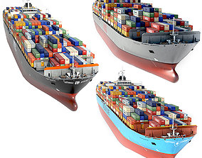 3D model set of container ships