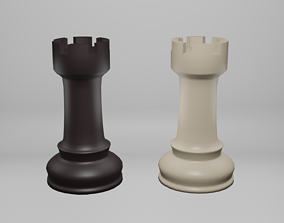 3D asset Black-White Low-poly Chess Rook