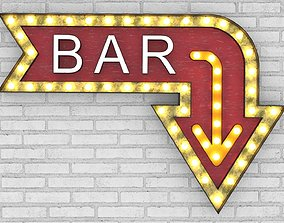 3D model Large Up Letters Light Bar Sign