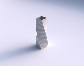 3D printable model Vase twisted rectangle with grid plates
