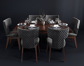 3D model Bamax Slash dining room set with table setting 2