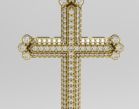 Cross with small gems and intricate 3D printable model 2